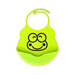 Слюнявчик силиконовый 0750 c кармашком Зеленый