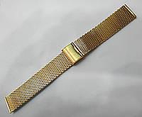 Браслет к любым часам Кольчужный - нержавейка, цвет золото, фото 1