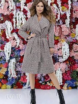 Женское стильное пальто букле с отложным воротником под пояс, 00170 (Бежевый), Размер 46 (L)