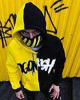Теплое худи унисекс Пушка Огонь Scratch черно-желтая