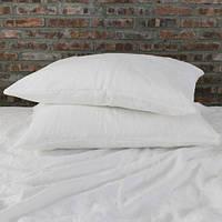 Белое льняное постельное белье евро
