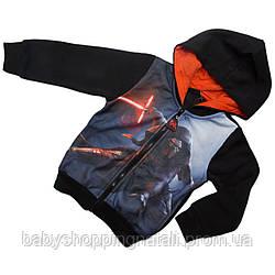 Кофта на молнии с капюшоном из трикотажа с начесом Звездные войны Disney (Sun City), DHQ1132-black, 6 лет, 6 лет (116 см)