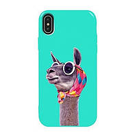 Накладка для iPhone XS Max силікон TPU Case TOTO Pure Print Lama Glasses Mint