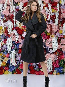 Пальто букле под пояс с отложным воротником для девушек, 00171 (Темно-серый), Размер 46 (L)