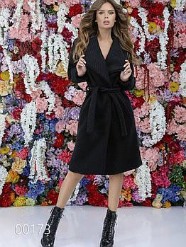 Женское шерстяное пальто букле под пояс, 00173 (Черный), Размер 46 (L)
