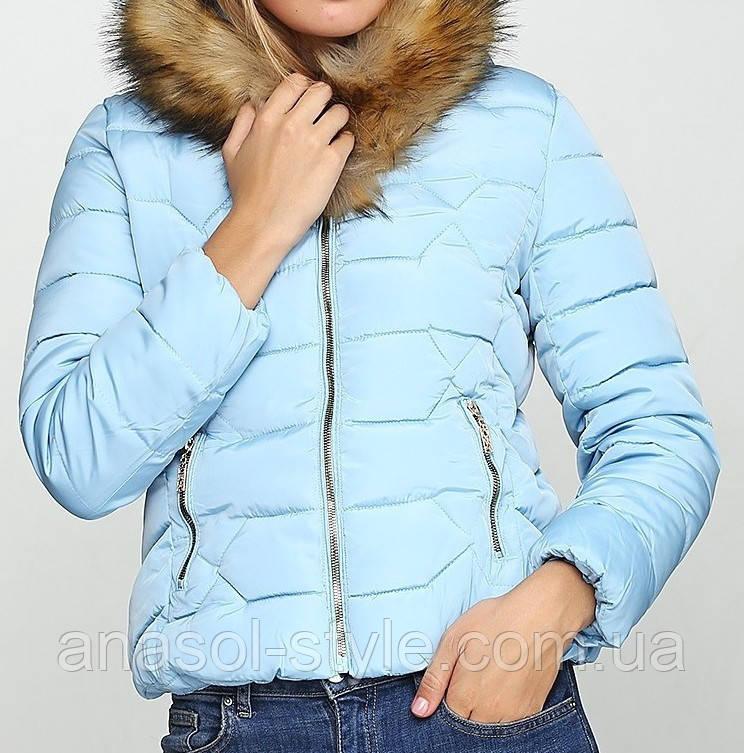 Куртка пуховик короткая  зимняя женская голубая