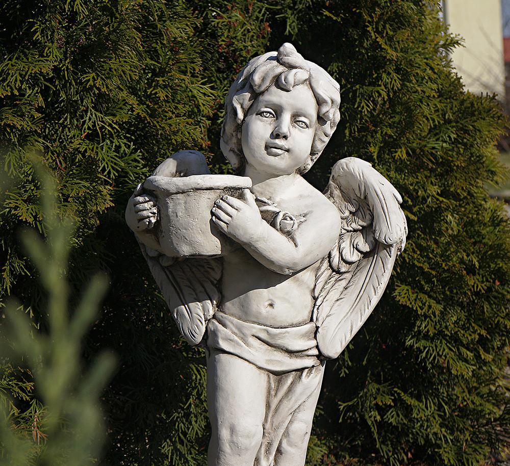 Садова статуя Ангел з квітковим горщиком 30x23x61cm SS12137-58