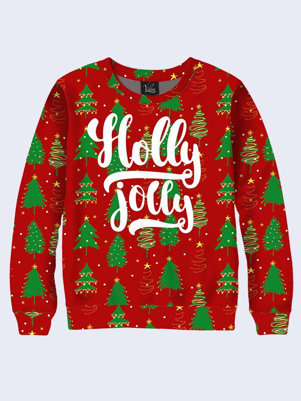 Свитшот Holly jolly ёлки