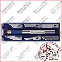 Моделярский набор ножей Sigma алюминиевая ручка + 6 лезвий (8214011)