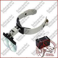 Бинокулярная лупа очки MG81002, Led подсветка, легкий вес, регулировка положения линзы
