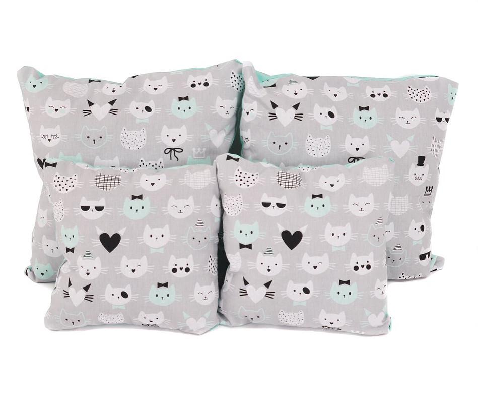 Набір подушок бавовна Коты на сірому ( 2 шт)