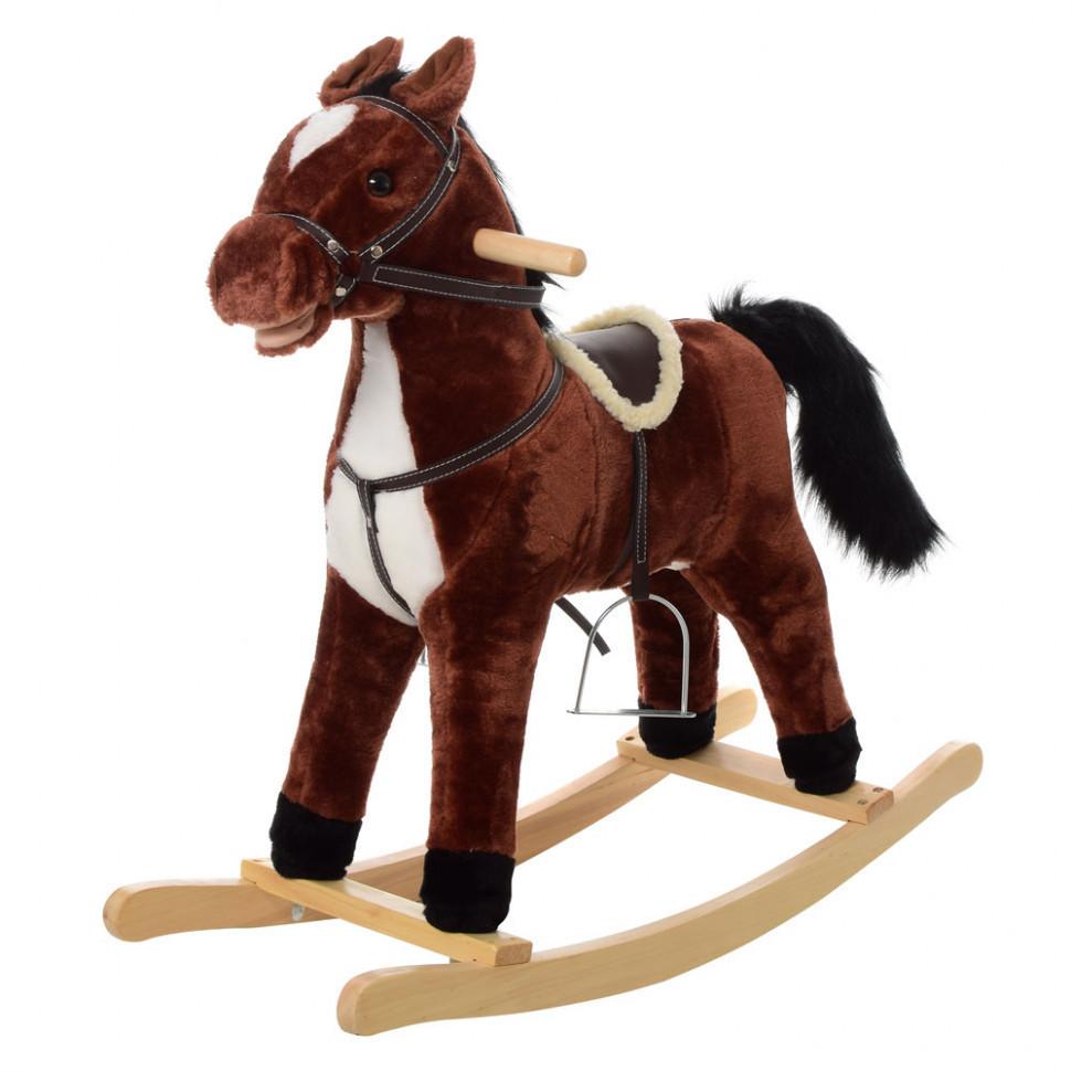 Лошадка-качалка Bambi плюшевая MP 0082 (Темно-коричневый)