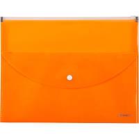 Папка-конверт,zip-lock,2 отделения,А4,оранжевая