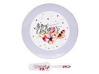 """Блюдо для торта с лопаткой """"Рождественский олень"""" 27 см, Lefard, 924-455"""