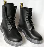 Легендарные! Dr. Martens Jadon демисезонные кожаные ботинки  на платформе с шнуровкой черные мартенсы, фото 4