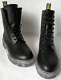 Легендарные! Dr. Martens Jadon демисезонные кожаные ботинки  на платформе с шнуровкой черные мартенсы, фото 5