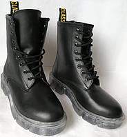 Легендарные! Dr. Martens Jadon женские зимние кожаные ботинки  на платформе со шнуровкой черные мартенсы