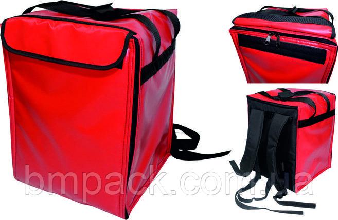 Терморюкзак для доставки пиццы ПВХ красный, фото 2