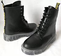 Dr. Martens Jadon женские демисезонные кожаные ботинки  на платформе со шнуровкой черные мартенсы