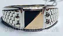 Печатка  в серебре с  золотом и ониксом Эдвин
