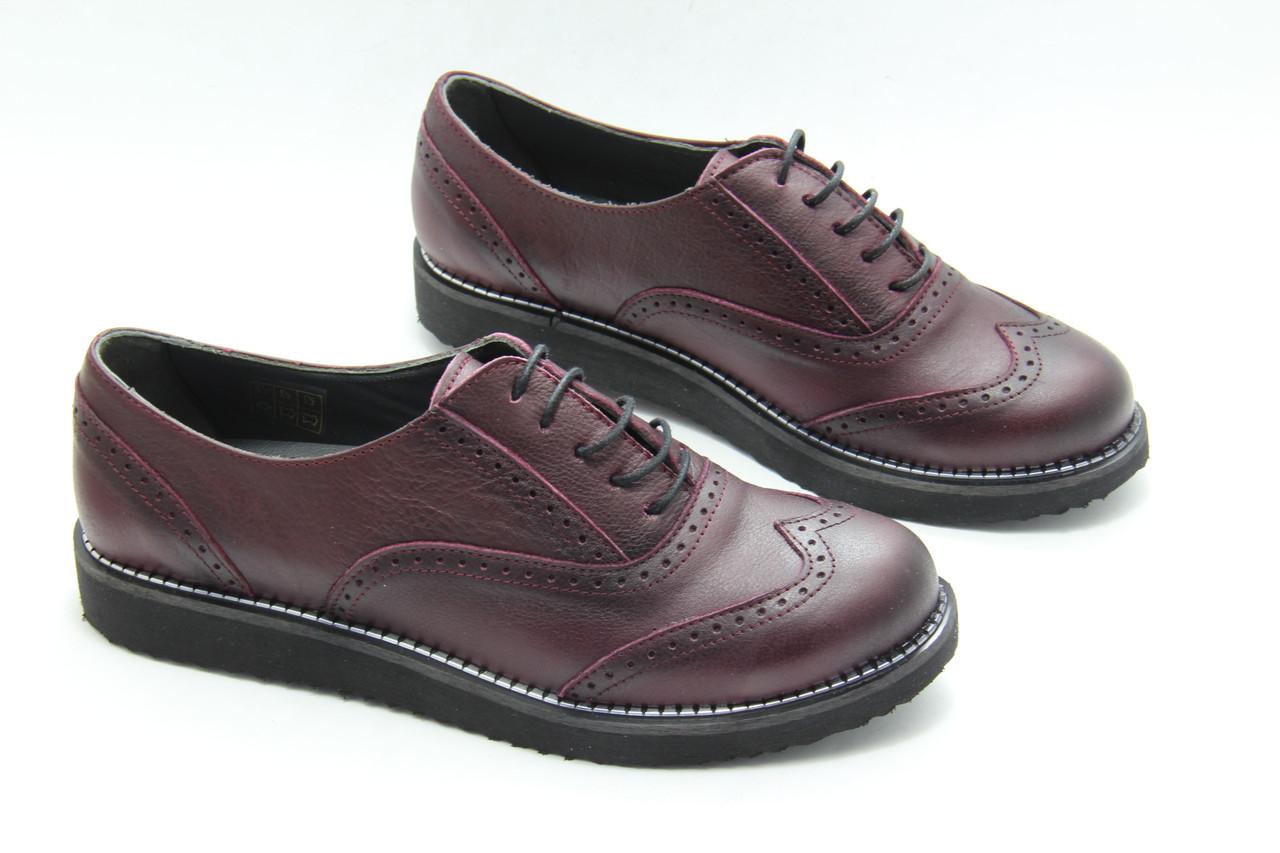 Туфли оксфорды кожаные Aras Shoes 108-Bordo