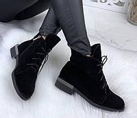 Vzuta зимние черные замшевые женские полу ботинки на шнуровке со змейкой квадратный каблук красивые и стильные