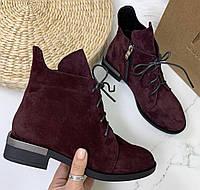 Vzuta зимние марсала замша женские полу ботинки на шнуровке со змейкой квадратный каблук красивые и стильные