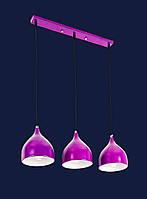 Тройной подвесной светильник на планке в стиле Loft с цветным плафоном 7044461-3 PURPLE