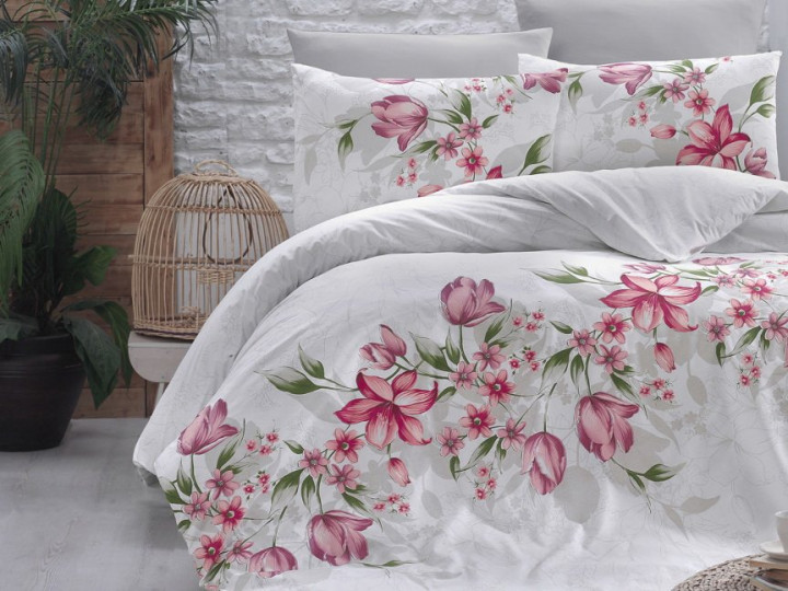 Комплект постельного белья First Choice Ранфорс 200x220 Riella Kirmizi