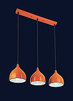 Тройной подвесной светильник на планке в стиле Loft с цветным плафоном 7044461-3 ORANGE