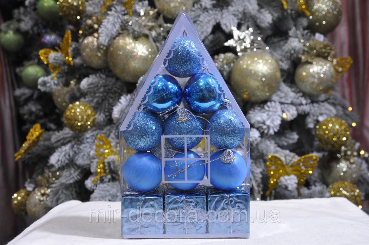 "Набор на елку  ""Теремок"" (пластик), диаметр 40, 12 шт. Цвет голубой."