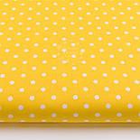 Лоскут ткани с горошком 7 мм на жёлтом фоне №2435, фото 2