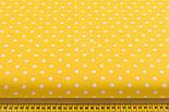 Лоскут ткани с горошком 7 мм на жёлтом фоне №2435, фото 4