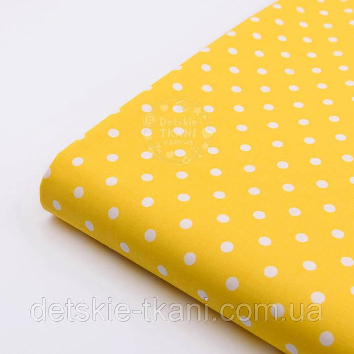 Лоскут ткани с горошком 7 мм на жёлтом фоне №2435