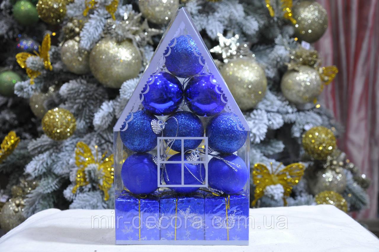 """Набор на елку  """"Теремок"""" (пластик), диаметр 40, 12 шт. Цвет синий."""
