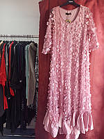 Праздничное нежно- розовое платье  с цветами и шелковой оборкой Pompadur, фото 1