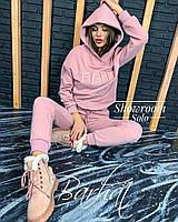 Женский зимний теплый спортивный костюм FIGHT с капюшоном на флисе светлый беж черный фрез 42-44 44-46, фото 1