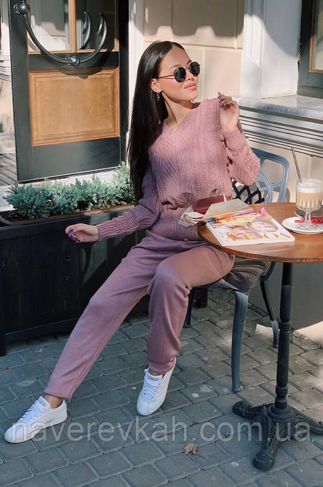 Женский зимний теплый вязанный спортивный костюм бордо кофе пудра оливка джинс графит беж универсальный