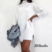 Женское зимнее теплое платье на флисе черное белое 42-46