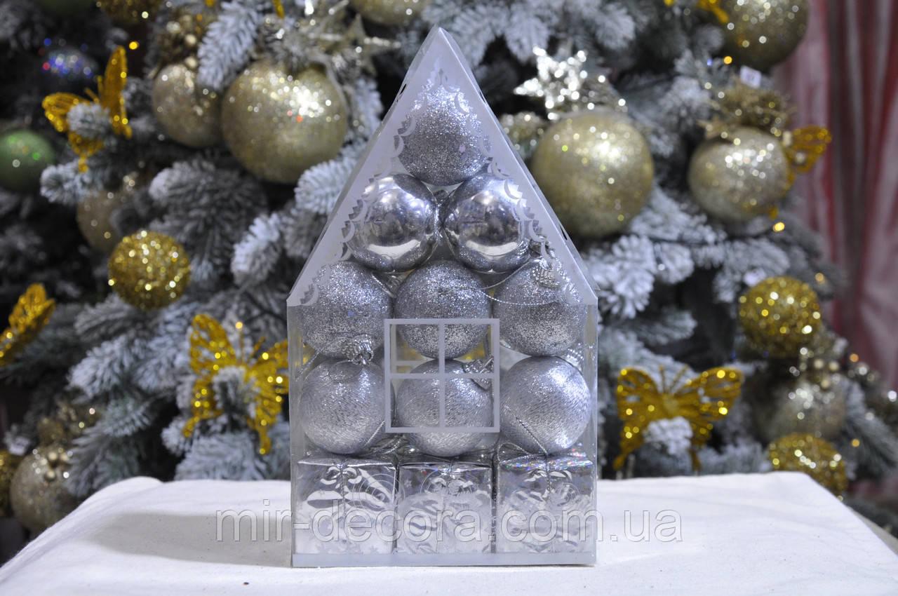 "Набор на елку  ""Теремок"" (пластик), диаметр 40, 12 шт. Цвет серебро."