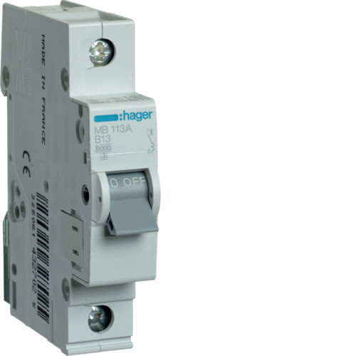 Автоматический выключатель Hager 1P 6kA B-13A 1M (MB113A)