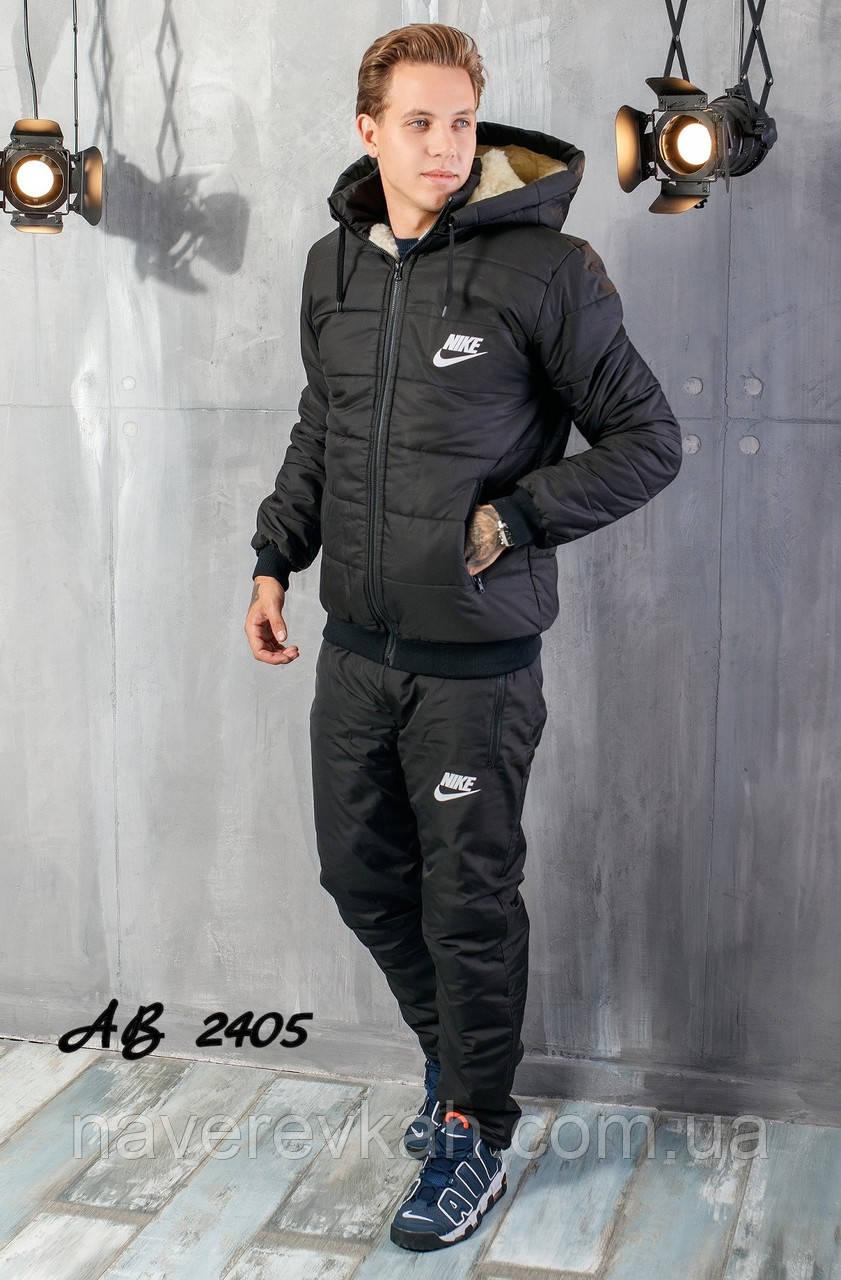 Мужской зимний теплый спортивный костюм на синтепоне черный темно-синий 48 50 52 54