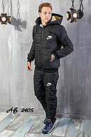 Мужской зимний теплый спортивный костюм на синтепоне черный темно-синий 48 50 52 54, фото 1