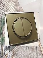 Выключатель двухклавишный золотой корпус Laura Right Hausen HN-015048