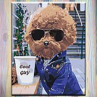 """Картина по номерам на подрамнике, Собаки """"Cool guy"""" 40*50 см, без коробки"""