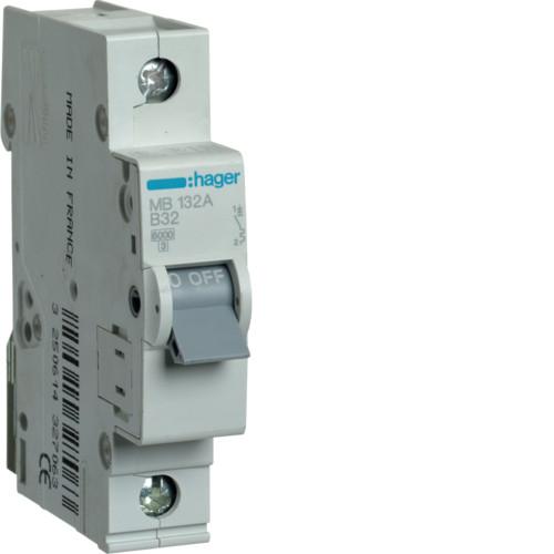 Автоматический выключатель Hager 1P 6kA B-32A 1M (MB132A)