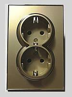 Розетка двойная с заземлением корпус золото Laura Right Hausen HN-015108