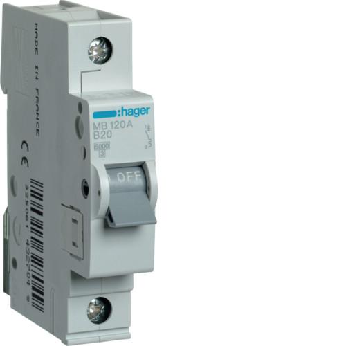 Автоматический выключатель Hager 1P 6kA B-20A 1M (MB120A)