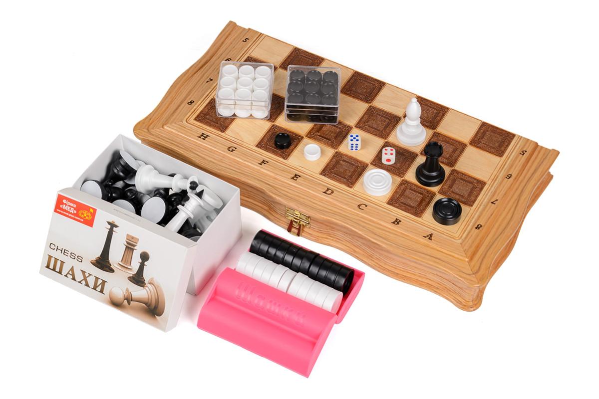 Набор игр 3 в 1 - шахматы, шашки, нарды