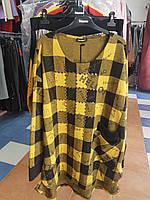 Теплая туника с карманами в желто-коричневую клетку Darkwin, фото 1